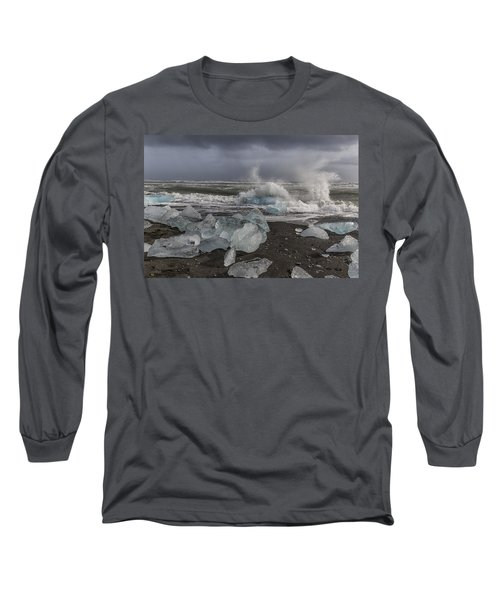 Long Sleeve T-Shirt featuring the tapestry - textile Glacial Lagoon Iceland 2 by Kathy Adams Clark