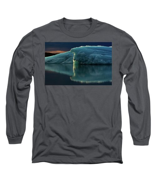 Glacial Lagoon Reflections Long Sleeve T-Shirt by Allen Biedrzycki