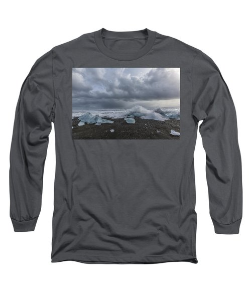 Long Sleeve T-Shirt featuring the tapestry - textile Glacier Ice 2 by Kathy Adams Clark