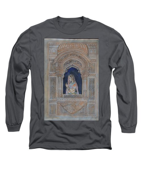 Long Sleeve T-Shirt featuring the painting Glancing From Her Window by Vikram Singh