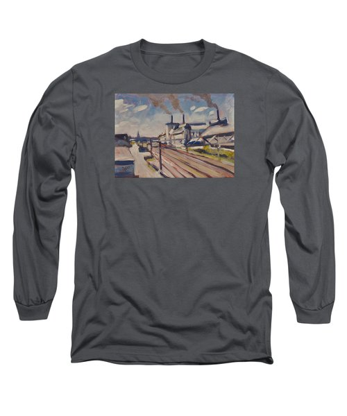 Glass Factory Along The Railway Track Long Sleeve T-Shirt by Nop Briex
