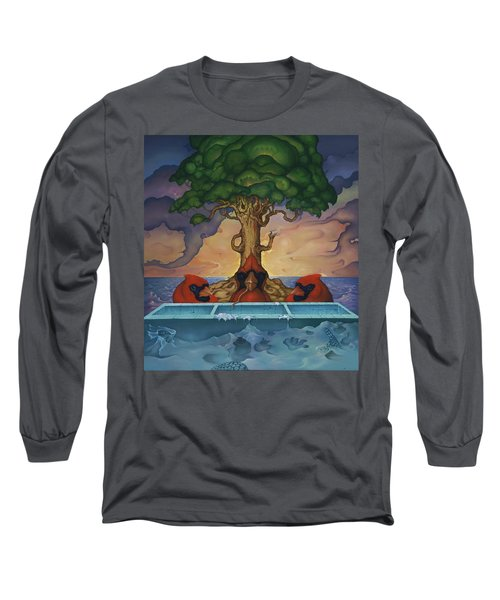 Long Sleeve T-Shirt featuring the painting Global Warming And The Ridiculousness Of Discussing The Next Ice Age by Andrew Batcheller