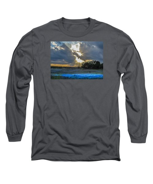 Da211 Glorious Bluebonnet Sunset By Daniel Adams Long Sleeve T-Shirt