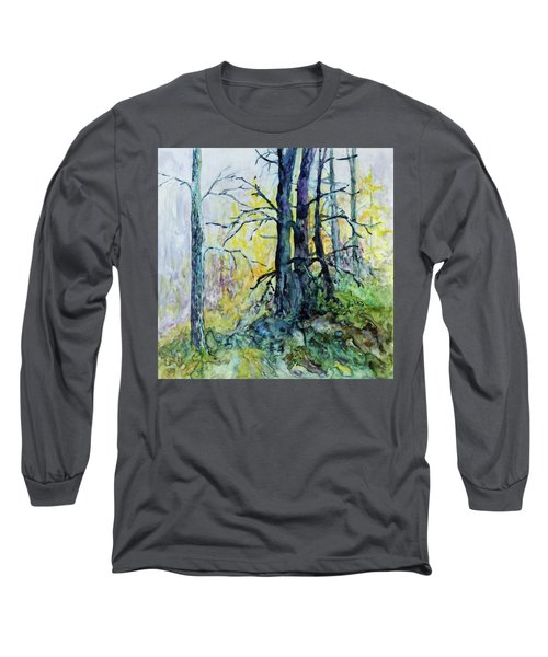 Long Sleeve T-Shirt featuring the painting Glow From The Tamarack by Joanne Smoley