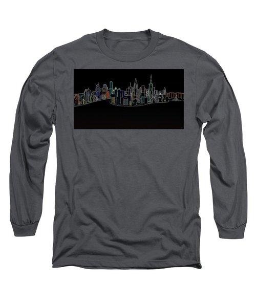 Glowing City Long Sleeve T-Shirt by Thomas M Pikolin
