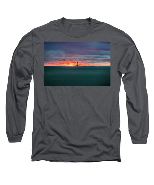 Glowing Sunset On Lake With Lighthouse Long Sleeve T-Shirt