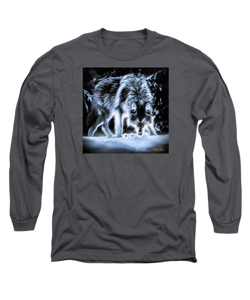 Long Sleeve T-Shirt featuring the photograph Glowing Wolf In The Gloom by Rikk Flohr
