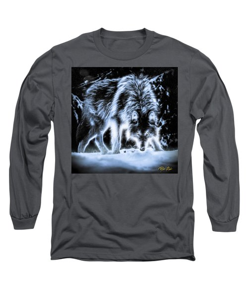 Glowing Wolf In The Gloom Long Sleeve T-Shirt