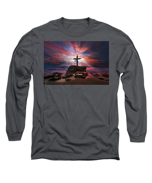 God Is My Rock Special Edition Fine Art Long Sleeve T-Shirt by Justin Kelefas