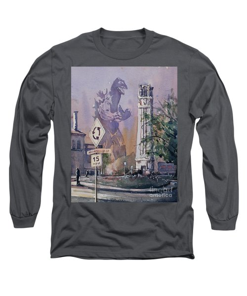 Long Sleeve T-Shirt featuring the painting Godzilla Smash Ncsu- Raleigh by Ryan Fox
