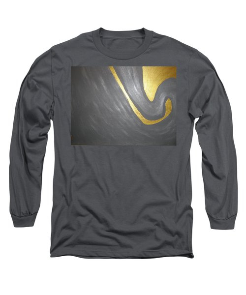 Gold And Gray Long Sleeve T-Shirt by Barbara Yearty