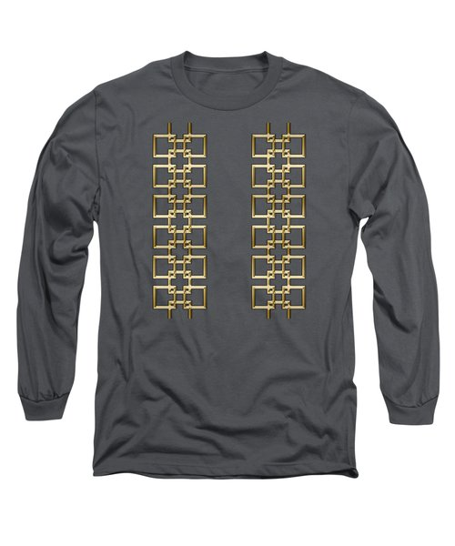 Gold Geo 5 - Chuck Staley Design Long Sleeve T-Shirt by Chuck Staley