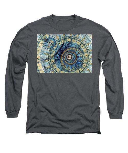Golden And Blue Clockwork Long Sleeve T-Shirt by Martin Capek
