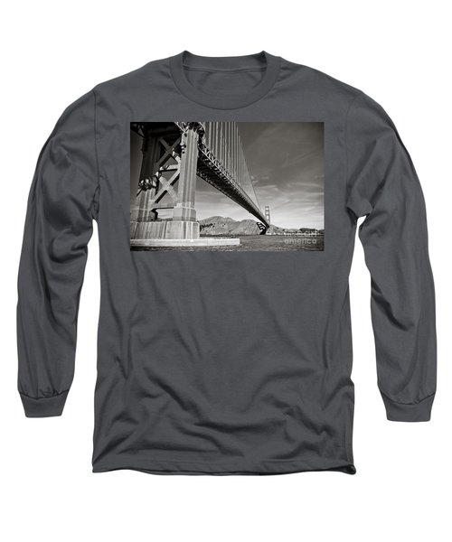 Golden Gate From The Water - Bw Long Sleeve T-Shirt by Darcy Michaelchuk