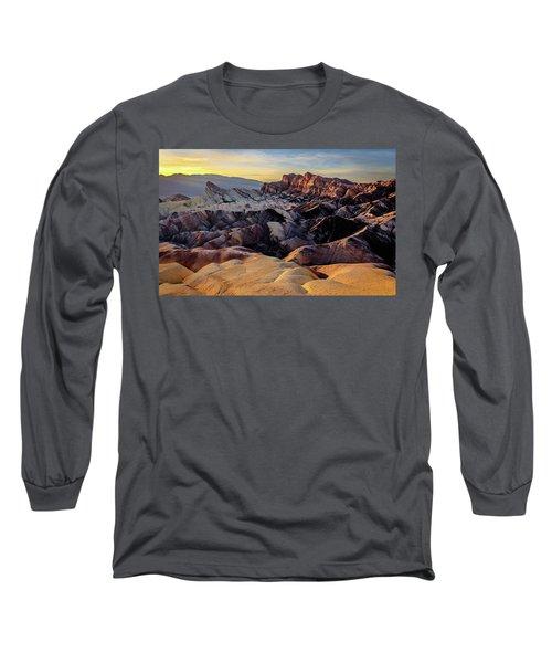 Golden Hour Light On Zabriskie Point Long Sleeve T-Shirt