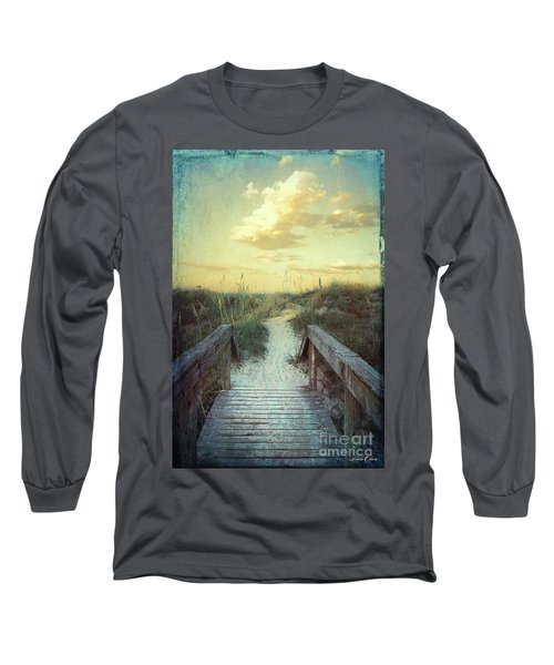 Golden Pathway Long Sleeve T-Shirt by Linda Olsen