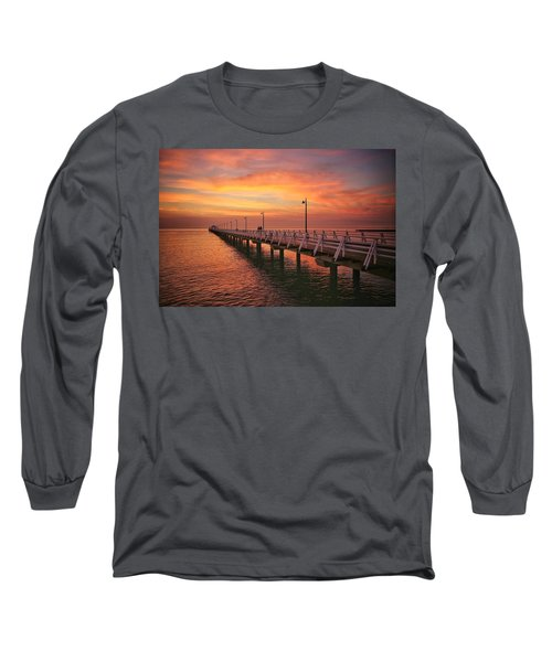 Golden Red Skies Over The Pier Long Sleeve T-Shirt