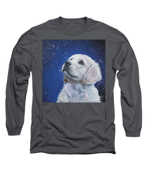 Golden Retriever Pup In Snow Long Sleeve T-Shirt by Lee Ann Shepard
