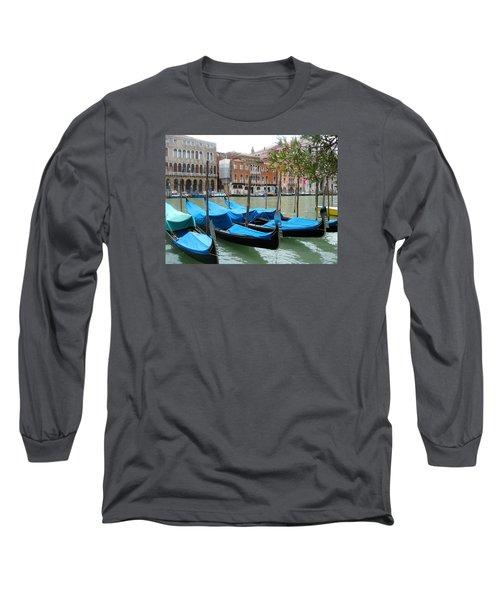 Gondolas Of Venice Long Sleeve T-Shirt by Lisa Boyd
