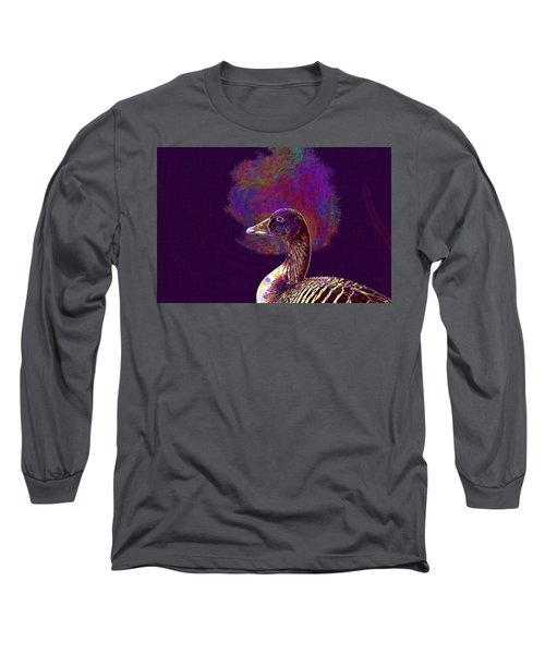 Long Sleeve T-Shirt featuring the digital art Goose Bird Wild Goose  by PixBreak Art