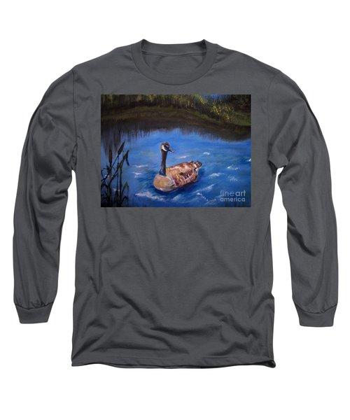 Long Sleeve T-Shirt featuring the painting Goose by Leslie Allen