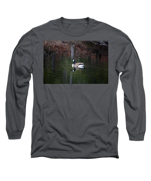 Long Sleeve T-Shirt featuring the photograph Goose On A Pond by Jeff Severson