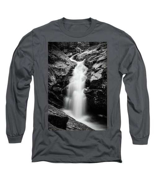 Gorge Waterfall In Black And White Long Sleeve T-Shirt