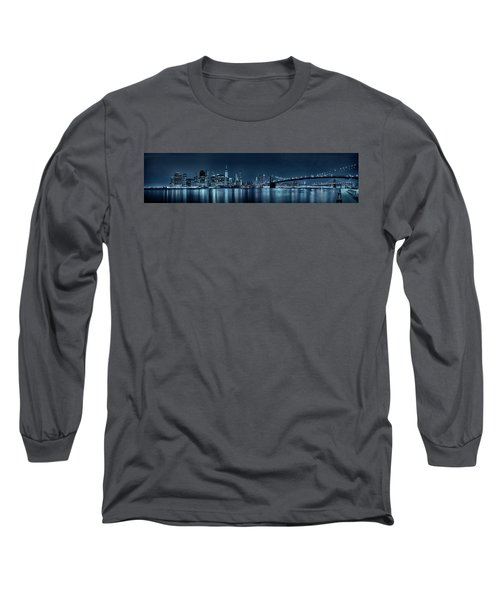 Long Sleeve T-Shirt featuring the photograph Gotham City Skyline by Sebastien Coursol