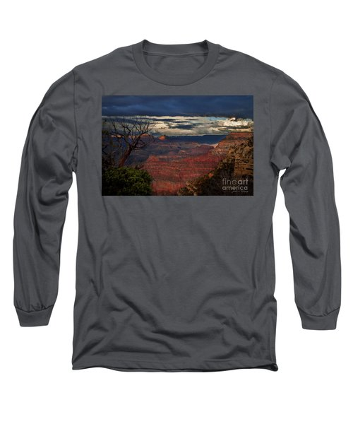 Grand Canyon Storm Clouds Long Sleeve T-Shirt by John A Rodriguez