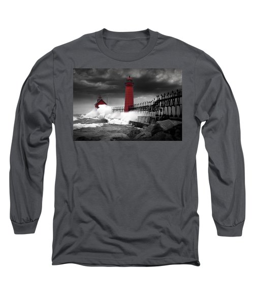 Grand Haven Lighthouse In A Rain Storm Long Sleeve T-Shirt
