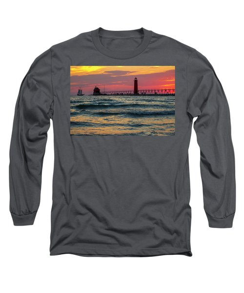 Grand Haven Pier Sail Long Sleeve T-Shirt by Pat Cook
