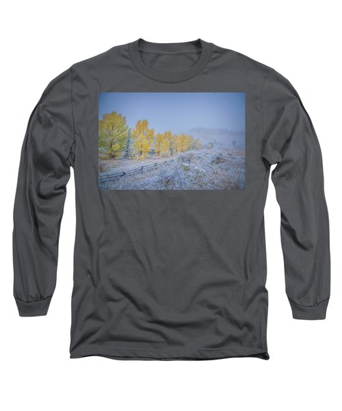 Grand Teton Fall Snowfall Scene Long Sleeve T-Shirt