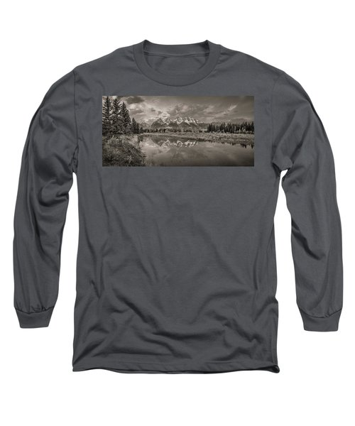 Grand Teton Monochromatic Panoramic Long Sleeve T-Shirt