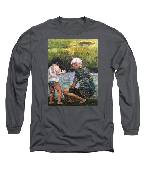 Long Sleeve T-Shirt featuring the painting Grandpa And I by Belinda Low