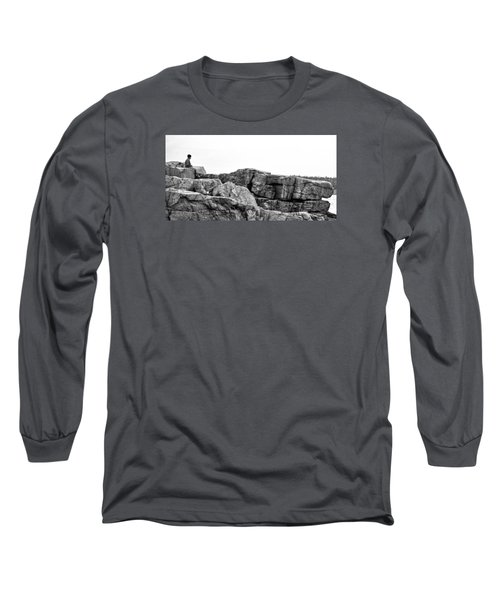 Granite Cliffs At Thunder Hole - Acadia - Maine Long Sleeve T-Shirt
