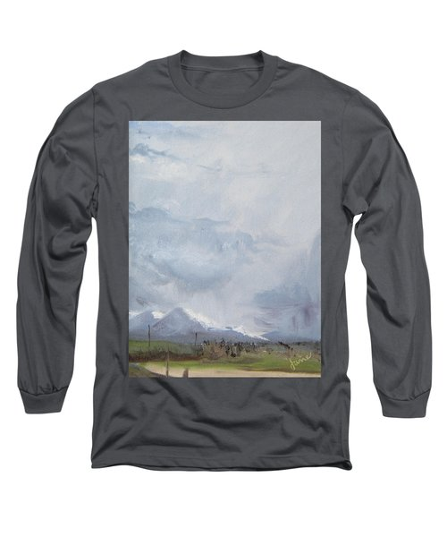 Long Sleeve T-Shirt featuring the painting Grantsville Skies by Jane Autry
