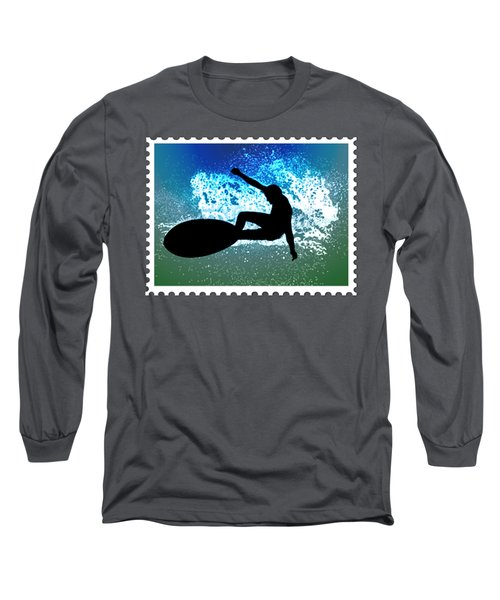 Graphic Surfer In Green And Blue Ocean Foam Long Sleeve T-Shirt