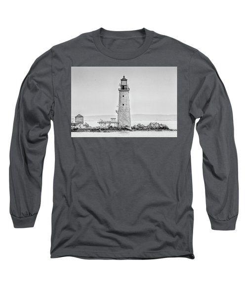 Graves Lighthouse- Boston, Ma - Black And White Long Sleeve T-Shirt