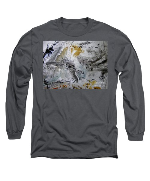 Long Sleeve T-Shirt featuring the painting Gray And Gold by Nancy Kane Chapman