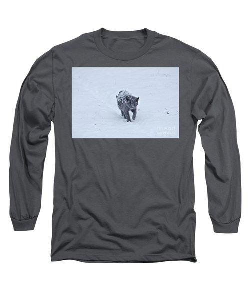 Gray On White Long Sleeve T-Shirt