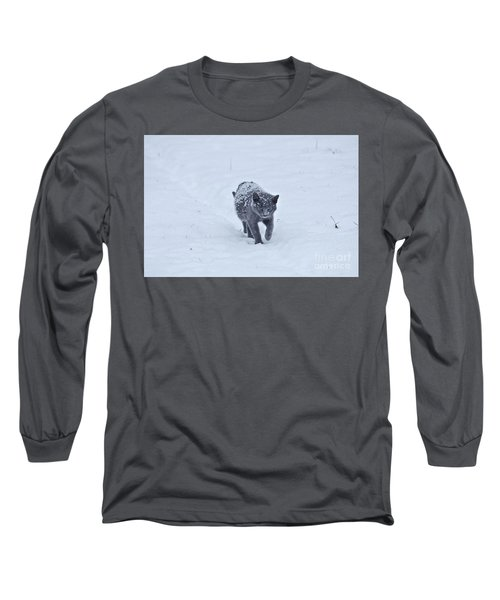 Gray On White Long Sleeve T-Shirt