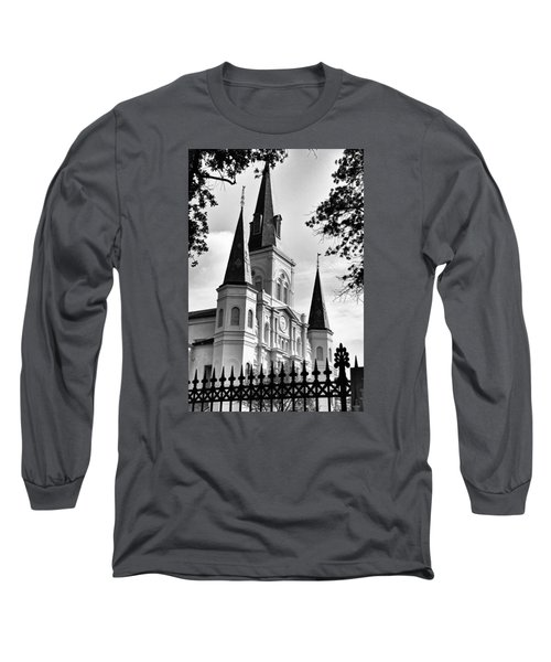 Grayscale St. Louis Cathedral Long Sleeve T-Shirt