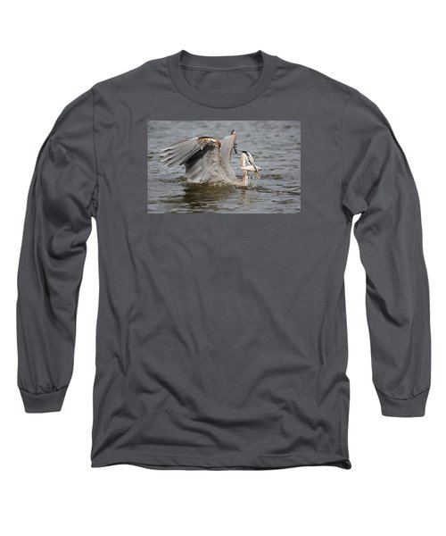 Great Blue Heron And Fish Long Sleeve T-Shirt