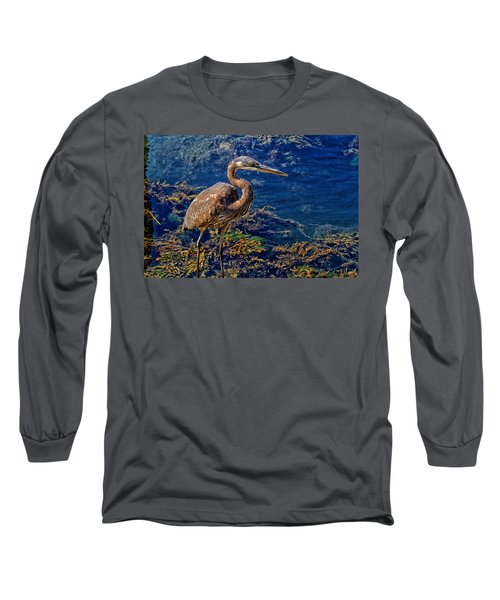 Great Blue Heron And Seaweed Long Sleeve T-Shirt by Constantine Gregory