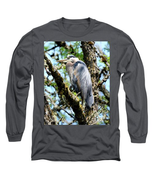Great Blue Heron In A Tree Long Sleeve T-Shirt