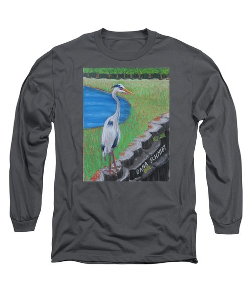 Great Blue Heron In Front Of Orchard Long Sleeve T-Shirt