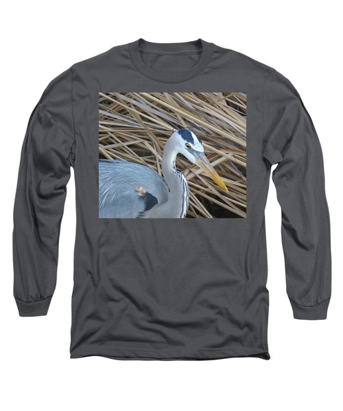 Great Blue Heron On Spi Long Sleeve T-Shirt