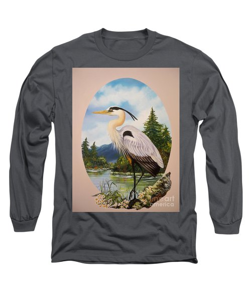 Long Sleeve T-Shirt featuring the painting Great Blue Heron by Sigrid Tune