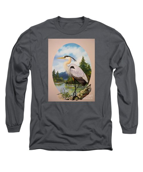 Flying Lamb Productions                 Great Blue Heron Long Sleeve T-Shirt