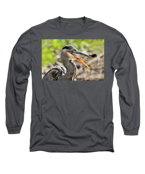Great Blue Heron Tongue Long Sleeve T-Shirt by Debbie Stahre